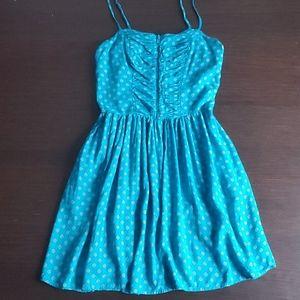 Blue polka dot dress with pockets